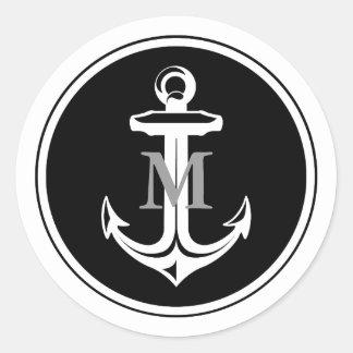 Pegatina con monograma del ancla negra