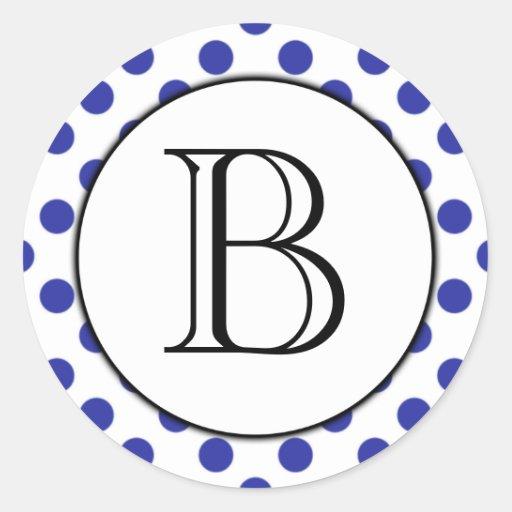 Pegatina con monograma del lunar azul y blanco