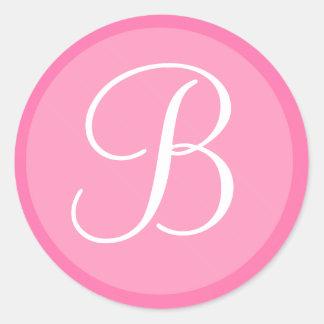 Pegatina con monograma del rosa y blanco del sobre