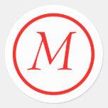 Pegatina con monograma rojo