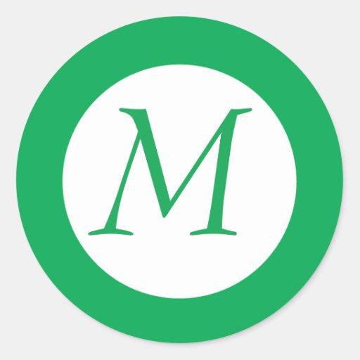 Pegatina con monograma verde