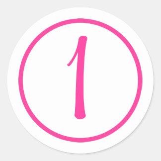Pegatina con número y la frontera rosados