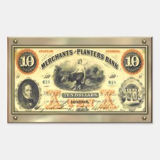 Pegatina confederado del dinero