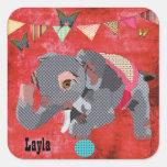 Pegatina conocido rojo del elefante afortunado de