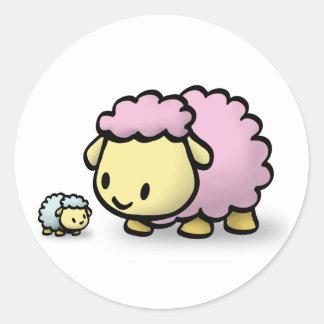 Pegatina - corderos y mamá del bebé