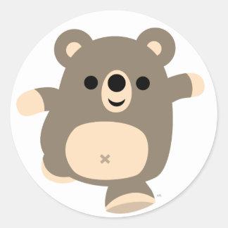 Pegatina corriente lindo del oso del dibujo