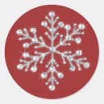 Pegatina cristalino del copo de nieve (rojo)