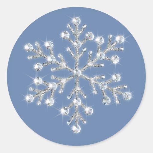 Pegatina cristalino hivernal del copo de nieve