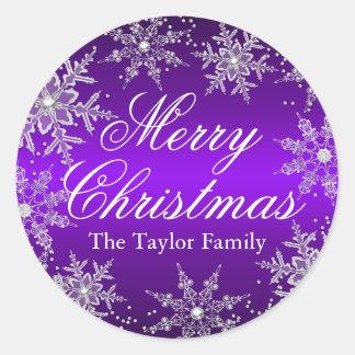 Pegatina cristalino púrpura del navidad del copo