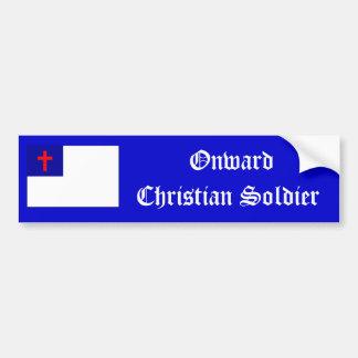 Pegatina cristiano hacia adelante del soldado pegatina de parachoque