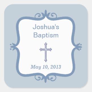 Pegatina cruzado azul del cuadrado del bautismo
