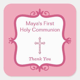 Pegatina cruzado rosado del cuadrado de la comunió