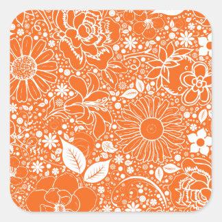 Pegatina cuadrado anaranjado de las bellezas