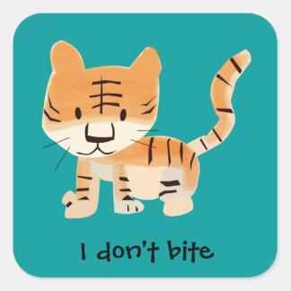 Pegatina cuadrado animal lindo de Cub de tigre
