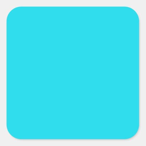 Pegatina cuadrado azul de la aguamarina