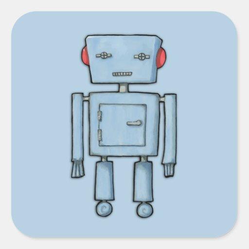 Pegatina cuadrado azul del robot del juguete