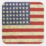 Pegatina cuadrado con la bandera americana del vin