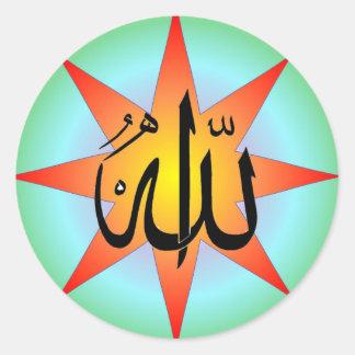 Pegatina cuadrado de Alá Sun