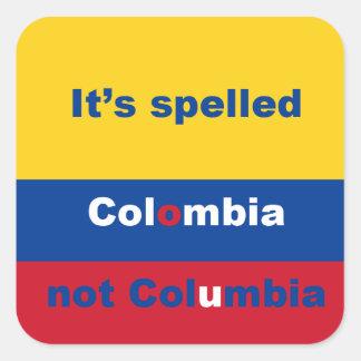 Pegatina cuadrado de Colombia no Columbia