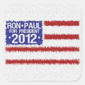 Pegatina cuadrado de la campaña de Ron Paul 2012