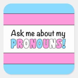 Pegatina cuadrado de los pronombres (orgullo del
