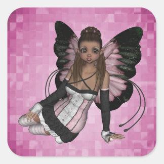 Pegatina cuadrado de Pamela del ángel de hadas