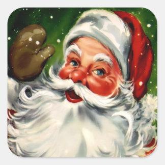 Pegatina cuadrado de Papá Noel