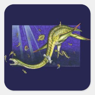 Pegatina cuadrado de Plesiosaur