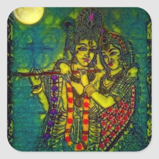 Pegatina cuadrado de Radha Krishna1