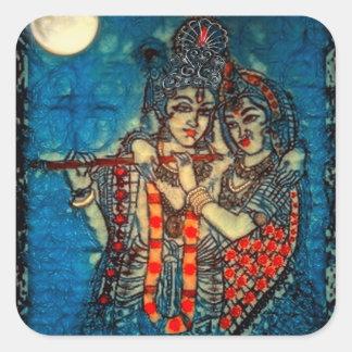 Pegatina cuadrado de Radha Krishna2