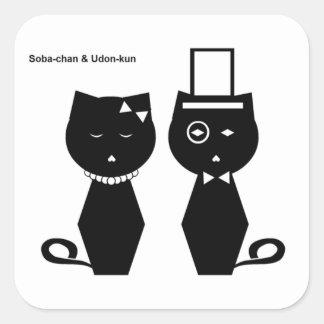 pegatina cuadrado de Soba-chan y del udon-kun
