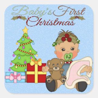 Pegatina cuadrado del 1r navidad de la niña