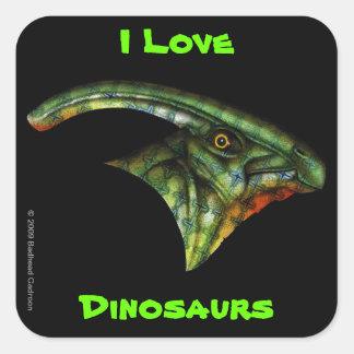 Pegatina cuadrado del Hadrosaur