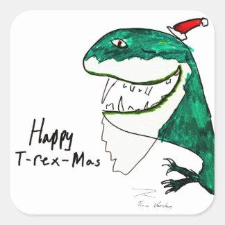 Pegatina cuadrado del navidad T-Rex-Mas