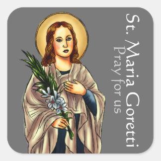 Pegatina cuadrado del St. Maria Goretti