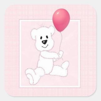 Pegatina cuadrado rosado de Cub del oso polar