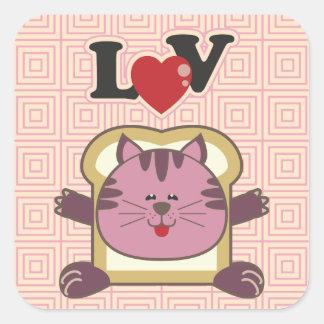 Pegatina cuadrado rosado del gato que empana