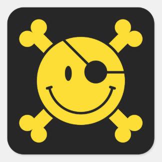 Pegatina cuadrado sonriente del pirata