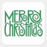 Pegatina cuadrado verde de las Felices Navidad