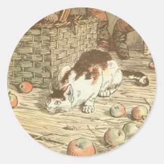 Pegatina curioso de las ilustraciones del gato