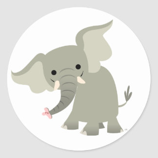 Pegatina curioso del elefante del dibujo animado