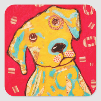 Pegatina curioso del perro de perrito