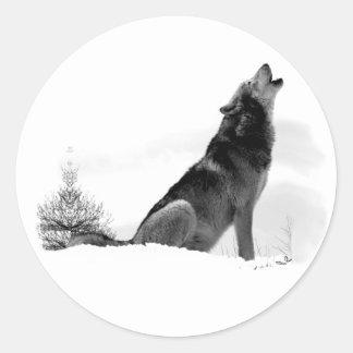 Pegatina de Alaska del lobo de madera