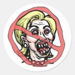 Pegatina de Anti-Hillary del satén de Hillary