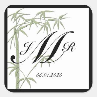 Pegatina de bambú del monograma de la belleza