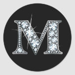 "Pegatina de Bling del diamante de ""M"""