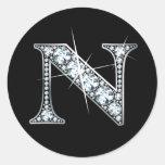 "Pegatina de Bling del diamante de ""N"""