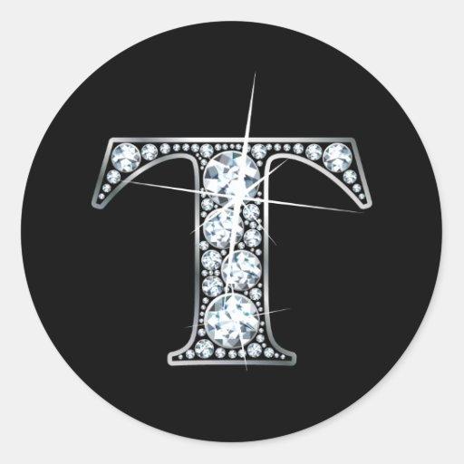 """Pegatina de Bling del diamante de """"T"""""""