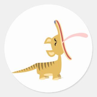 Pegatina de bostezo del Thylacine del dibujo anima