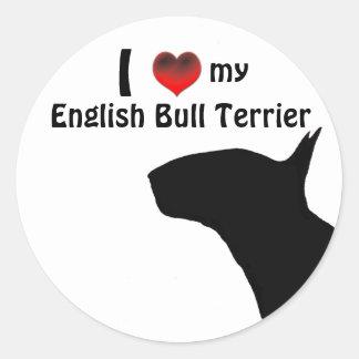 Pegatina de bull terrier del inglés